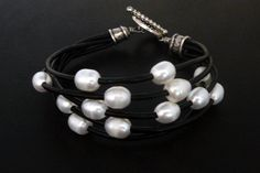 Leather and Pearl Bracelet on Black Leather Cord with Silver Plated Rope Pattern Toggle Clasp