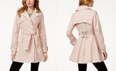 Betsey Johnson Corset-Back Skirted Trench Coat - Coats - Women - Macy's