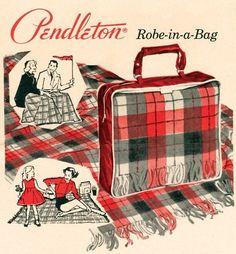 Vintage Pendleton Plaid Robe in a Bag Stadium Blanket Wool & Cushion Retro Ads, Vintage Advertisements, Vintage Ads, Vintage Posters, 1950s Advertising, Vintage Images, 1950s Ads, Vintage Photographs, 1940s