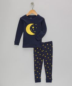 Take a look at this Navy Moon Star Pajama Set - Infant, Toddler & Kids by Leveret on #zulily today!