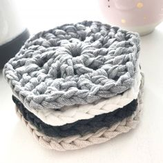 Hexagonal Coasters - Set of 4 - Slate, Silver, Sandy Ecru & Pearl White | Felt