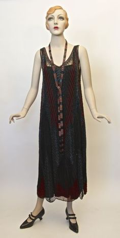FC0398 Dress, silk net glass beads, Made in France, c. 1924