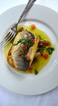 """Grilled Seabass with Basil and Tomato """"Sauce Vierge""""."""