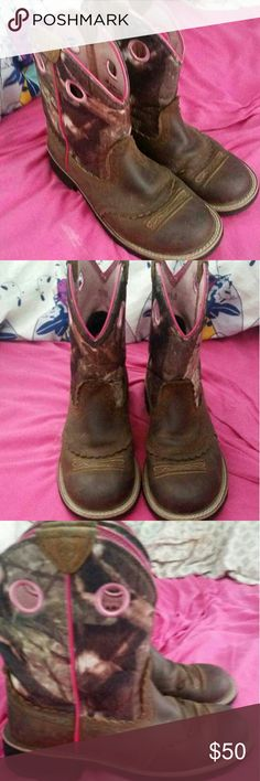 Ariat pink and camo boots Only worn a few times Ariat Shoes Ankle Boots & Booties