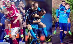 Walcott & Mertesacker Piggy Backs. Theo Walcott, European Football, North London, Arsenal Fc, Football Team, Soccer, Sports, Game, Sport