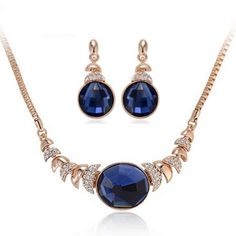Oval Diamond Necklace Earrings Set - Majesty Case