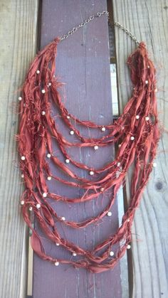 Layered Silk Necklace Beaded Silk Necklace by SpruceAccessories, $58.00