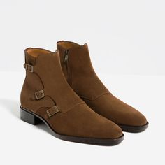 BROWN LEATHER ANKLE BOOTS WITH THREE BUCKLES from Zara