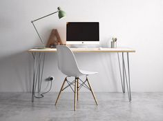 Hairpin Desk and Dining Table White Formica Birch by HairpinLegCo