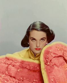Extremely curious watermelon styling, 1951 Erwin Blumenfeld photoshoot