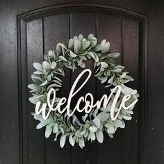 Welcome Wreath / Lambs Ear / Front Door Wreath | Etsy