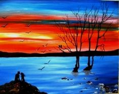 """""""Acrylic on Canvas"""" Code: Lovers at Sunset My YouTube Channel:  https://www.youtube.com/user/KoutrasArt"""