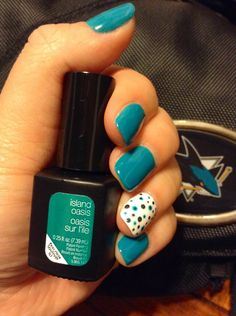 Nail design | diy nails | Sensationail | Island Oasis | polka dot | gel nails | San Jose Sharks Teal | photo only no link