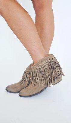 Dottie Couture Boutique - Short Fringe Bootie, $44.00 (http://www.dottiecouture.com/short-fringe-bootie/)