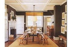 Table and benches, room colors   California Home + Design