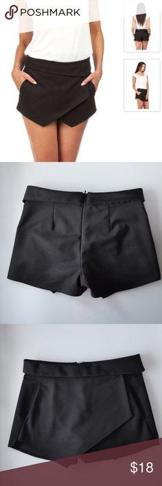ZARA Black Skort, XS Asymmetrical hem skort. Two side pockets. Back zipper. 100% Cotton. Worn few times, great condition. Zara Shorts Skorts