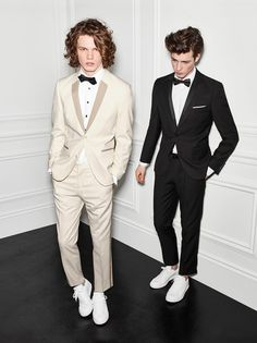 Sneaker Play: Arran Turton-Phillips and Robbie Beeser don street tuxedos from Le 31 with white sneakers.