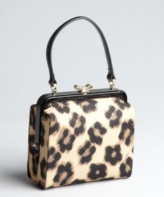 Red Valentino leopard print nylon and patent leather bow clasp handbag