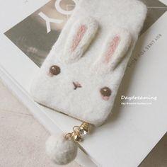 【白兔糖】白日梦原创秋日萌软羊毛毡兔子IPHONE系列防尘塞手机壳