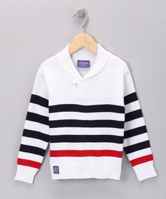White & Navy Stripe Sweater - Toddler & Boys Clean and classic. #zulily, #fall Leo, a sweater for xmas