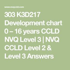 303 K3D217 Development chart 0 – 16 years CCLD NVQ Level 3 | NVQ CCLD Level 2 & Level 3 Answers