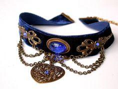 Blue Velvet Victorian Choker - Heart Pendant - Sapphire Swarovski Crystals