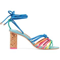 Sophia Webster Copacabana knotted leather sandals ($435) ❤ liked on Polyvore featuring shoes, sandals, heels, leather sandals, leather heeled sandals, cork high heel sandals, rainbow leather sandals and beach sandals