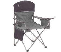 Have a cold drink at hand as soon as you sit down in the comfort of a Coleman© Oversized Quad Chair with cooler. The armrest has a built-in soft cooler that holds up to four cans, and the mesh cup holder keeps another beverage at hand. Folding Beach Chair, Folding Camping Chairs, Folding Chairs, Folding Seat, Camping Equipment, Camping Gear, Outdoor Camping, Backpacking, Campsite