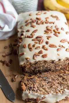 Easy to make moist and lightly sweetened sour cream banana bread with toasted…