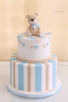 Baby boy cakes, baby shower cakes for boys, baby boy shower, baby Torta Baby Shower, Baby Shower Cakes For Boys, Teddy Bear Baby Shower, Baby Boy Cakes, Baby Boy Shower, Toddler Birthday Cakes, Baby Boy Birthday Cake, Baby Christening Cakes, Teddy Bear Cakes