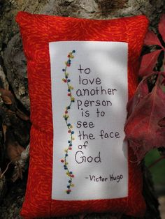 Victor Hugo Quote  Hand Embroidered Tuck Pillow by LaughRabbitJr, $18.00