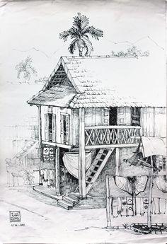 Landscape Sketch, Landscape Drawings, Watercolor Landscape, Landscape Paintings, Still Life Drawing, House Drawing, Perspective Drawing Lessons, Drawing Scenery, Beautiful Sketches