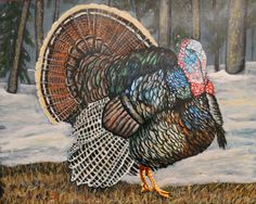 Strutting His Stuff (original painting) by Goohsnest on Etsy.  This is a 16 by 20 inch acrylic on Ampersands Claybord. What aturkey hunter wouldn't want this as a gift.