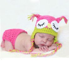 Uil Patterm Pasgeboren Baby Meisjes Jongens Haak Knit Kostuum Foto Fotografie Prop Outfits Mooie Mutsen Broek 0-4 Maanden Peuter(China (Mainland))