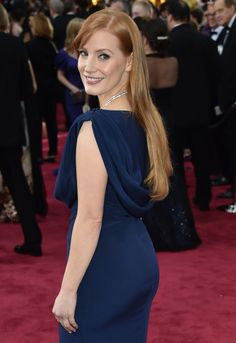 Jessica Chastain Oscars red carpet booty in a blue dress