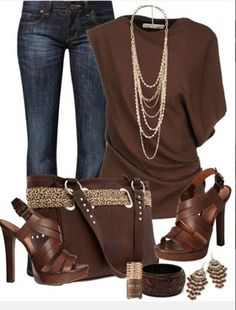 LOLO Moda: Stylish women outfits 2013 Brown and Denim look gorgeous together.