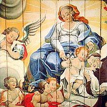 Barroco no Brasil – Detalhe da Virgem entregando o Menino Jesus a Santo Antônio, de Mestre Ataíde, exemplo do lado doce do Barroco brasileiro