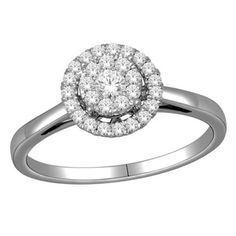 Round Diamond Frame Engagement Ring in White Gold