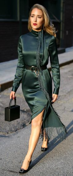 The One Accessory I Cannot Live Without // Emerald Green long sleeve midi dress with fringe detail, black waist belt with chain, black top handle box bag, black satin embellished pumps {Manolo Blahnik, Gabriela Hearst, Victoria Beckham, Chloe, classic style, fancy professional outfits, what to wear on a date, elegant style, timeless outfit, chic fashion blogger}