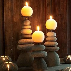 How to Make a Rock Candle Holder – Craft projects for every fan! Home Yoga Room, Zen Room, Yoga Rooms, Meditation Room Decor, Meditation Space, Yoga Room Decor, Meditation Music, Candle Holder Set, Tea Light Holder