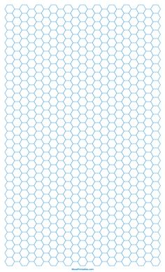 Printable Inch Blue Hexagon Graph Paper for Legal Paper Printable Graph Paper, Templates Printable Free, Hexagon Pattern, Hexagon Quilt, Graph Paper Notebook, Beading Patterns Free, Patterned Sheets, English Paper Piecing, Coloring Book Pages