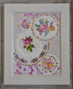 Mosaic Cabinet Door with Vintage China and Stained Glass - Pink Roses on Etsy, $85.00