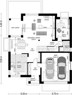 Projekt domu Sydney 267,35 m2 - koszt budowy - EXTRADOM Facade, Sydney, Villa, Floor Plans, Layout, Construction, How To Plan, Design, Duplex House Plans
