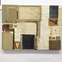 171101: Finally. Book collage on board. #melindatidwell #abstractcomposition #analogcollage #cutandpaste #collageart #collageworkshop #bookcollage