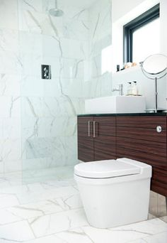carrera marble bathrooms flat panel cabinets toilet wide sink single faucet shower glass door modern design of Fabulous Carrera Marble Bathrooms to be Awestruck By Bathroom Window Glass, Glass Shower Doors, Shower Faucet, Glass Door, Bath Shower, Mirror Bathroom, Wood Bathroom, Bath Tub, Bath Room