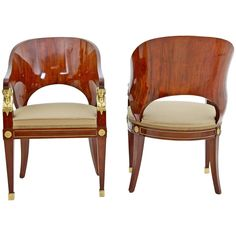 Pair of Stunning Empire Russian Armchairs, Dating from the Early 19th Century | From a unique collection of antique and modern armchairs at https://www.1stdibs.com/furniture/seating/armchairs/