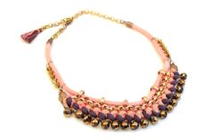 Tribal Crochet Necklace, Fabric Necklace, Pink Rope and Metal Plated Beads, Bordeaux, Beige and Coral Crochet Details