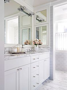 Marble in the Bathroom:  countertop; addition of ceramic tiles, paint, wallpaper in colors similar to those in the marble.
