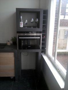 """Keukenkast voor magnetron en wijn van zwart mdf """"Danielle"""""""