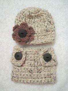 Crochet Baby Diaper Cover And Beanie Hat Chunky by Bargainpropsoci c531d8a79